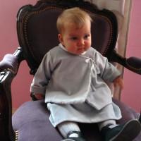 Veste bébé demi saison, velours gris perle