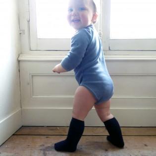 Chaussette bébé haute, marine